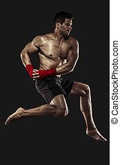 corporal, prática, combate, homem