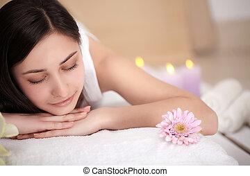 corporal, relaxante, beleza, wellbeing, centre., cosmetologia, costas, wellness, tratamento, femininas, cuidado pele, spa, woman., desfrutando, concept., massagem