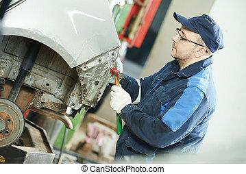 corporal, reparar, car, metal, aplainar, automático, homem