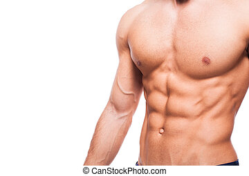 corporal, saudável, whi, pelado, atlético, adulto, metade,...