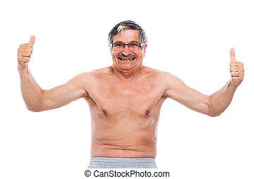 corporal, seu, mostrando,  Sênior, Feliz, homem
