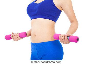 corporal, sobre, mulher, dumbell, parte, condicão física,...