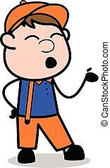 corporal, trabalhador, -, carpinteiro, conversação, enquanto...