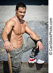 corporal, trabalhador, muscular, pelado, construção, excitado
