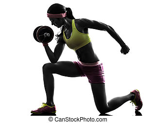 corporal, treinamento, mulher, silueta, peso, construtor