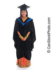 corporal, vestido, cheio, universidade, graduação, indianas, estudante, feliz