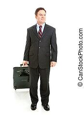 corporal, viajante, cheio, negócio, vista