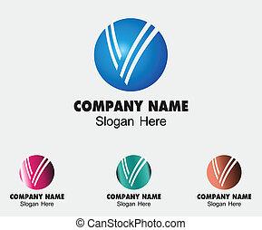 corporat, marcar, v, letra, sinal