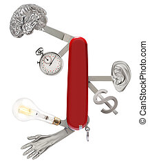 Swiss army knife with a brain, stopwatch, lightbulb, hand, ear and money sign