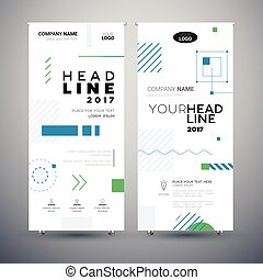 Corporate Banner - set of modern vector template abstract illustrations