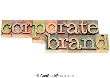 corporate brand in wood type