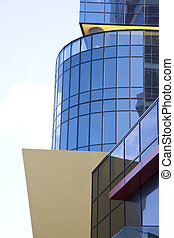 corporate building exterior with glass windows