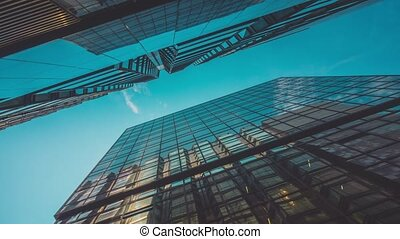 Corporate Buildings, Blue Sky and Clouds timelapse with...