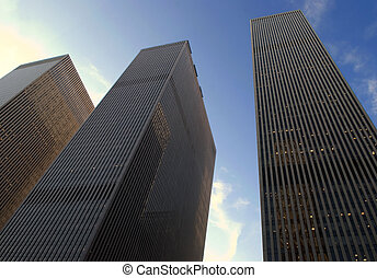 corporate buildings in perspective made on a background blue...