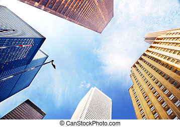 Corporate buildings - Colorful corporate buildings in city ...