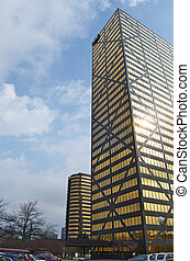 Corporate Buildings - Vertical shot of golden high rise...