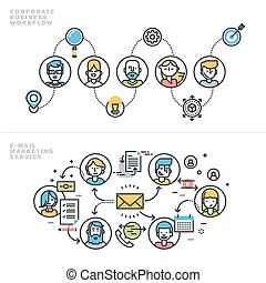 Corporate business and marketing - Flat line design concepts...