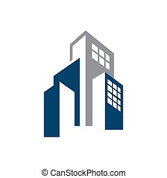 Corporate Business Building logo vector graphic style for realty and real estate company