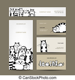 Corporate business cards design with funny striped cats