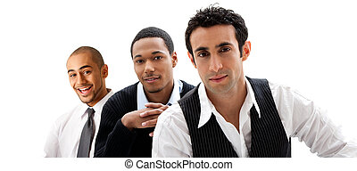Handsome happy business men dreamteam partners, isolated