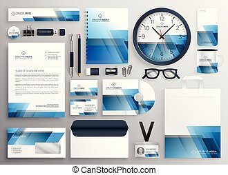 corporate business stationery big set with blue abstract design
