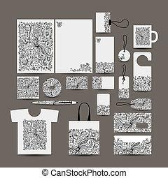 Corporate business style design: folder, bag, label, mug,...