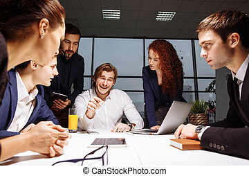 business team and manager in a meeting