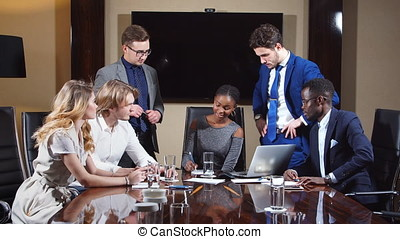 Corporate Business Team In A Meeting In Modern City Office.