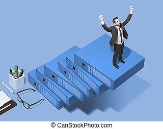 Corporate businessman climbing the ladder of success