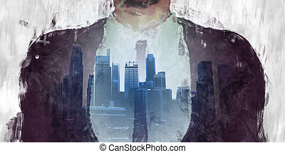 Corporate Dark Side of the City with Businessman