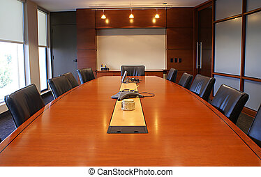 Corporate desk for meetings. - Training room for a company.