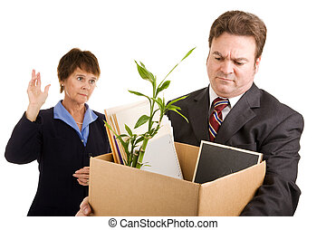 Corporate Downsizing - White collar worker loses his job....