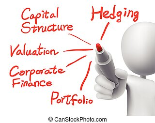 corporate finance concept written by 3d man over transparent board