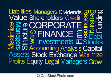 Corporate Finance Word Cloud on Blue Background