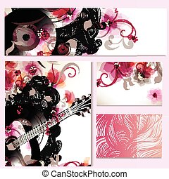 Corporate floral identity templates on music theme with abstract hand drawn swirl doodles and guitar collection of hand drawn cards.eps