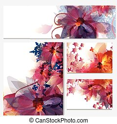 Corporate floral identity templates with flowers and...