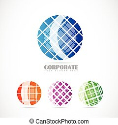 Corporate globe logo set
