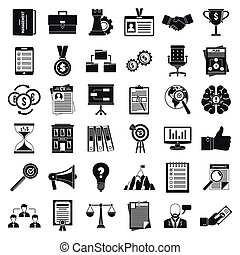 Corporate governance office icons set, simple style