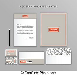 Corporate identity business set. Modern stationery template design. Documentation for business. Set of envelope, card, folder, etc. Vector illustration. Abstract background