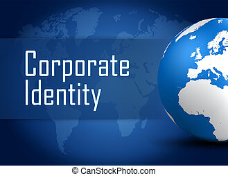 Corporate identity concept with globe on blue world map background