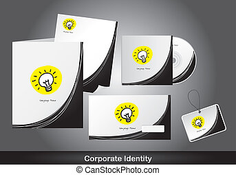 corporat identity with bulb electric over gray background. vector
