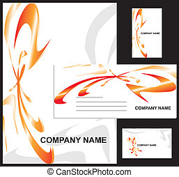 Corporate identity design template vector illustration containing letterhead, business cards and envelope
