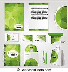 Corporate identity design vector - Stationery set design - green