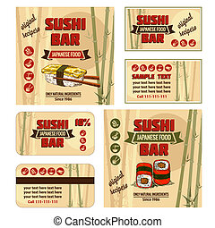 Vintage Sushi Bar Corporate Identity. Vector illustration.