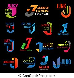 Corporate identity J creative color business icons