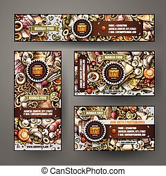 Corporate Identity set design with doodles hand drawn Russian food theme