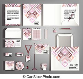 Multicolor corporate identity template design with ethno pattern. Business set stationery.