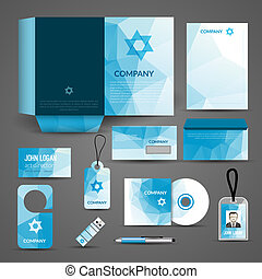Blue paper business stationery layout template for corporate identity and branding set isolated vector illustration