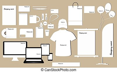 Corporate identity template design on the color background....