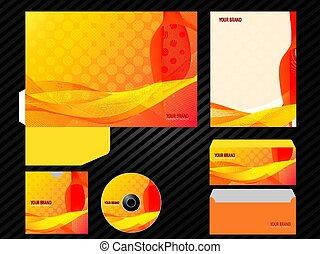 Corporate identity template design orange color business set stationery.